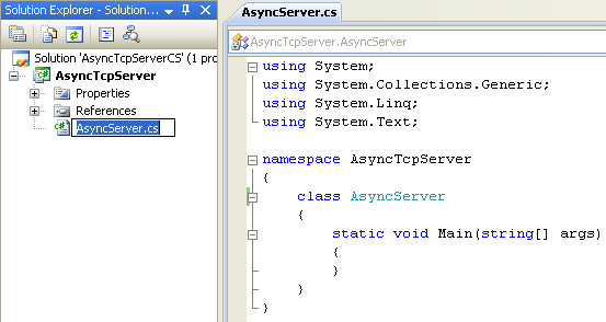 C# Asynchronous Server Program Example - renaming the source file    to reflect the application to be developed
