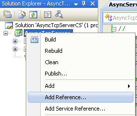 C# Asynchronous Server Program Example - invoking the Add Reference page using Add Reference context menu