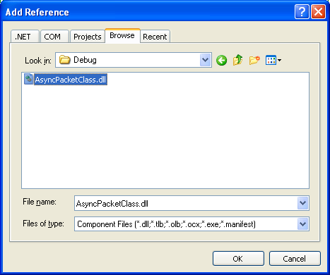 C# Asynchronous Server Program Example - selecting the DLL file to be included in the existing project through a reference
