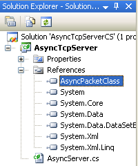 C# Asynchronous Server Program Example - the included DLL file can be seen in the Solution Explorer under the References folder
