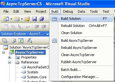 C# Asynchronous Server Program Example - building the project