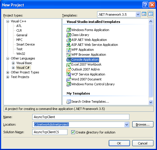 C# Asynchronous Client Program Example - creating a new console application project using VS 2008 IDE