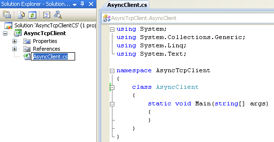 C# Asynchronous Client Program Example - renaming the source file to reflect the application to be developed