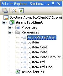C# Asynchronous Client Program Example - the reference to the class can be seen under the References folder in the Solution Explorer