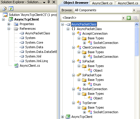 C# Asynchronous Client Program Example - browsing the class objects through the Object Browser