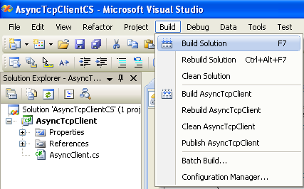 C# Asynchronous Client Program Example - building the project