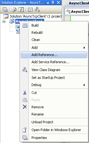 VB .NET Asynchronous Client Program Example - invoking the Add Reference page