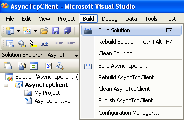 VB .NET Asynchronous Client Program Example - building the project