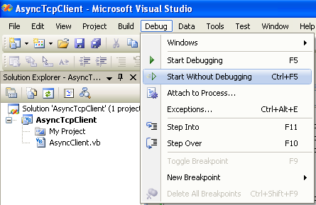 VB .NET Asynchronous Client Program Example - running the project