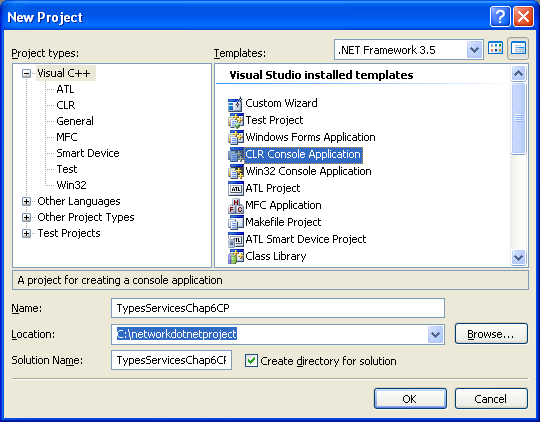 C++ Services and Types Program Example - creating a new CLR console application project using Visual Studio 2008