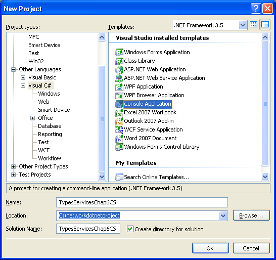 C# Services and Types Program Example - creating a new console application project