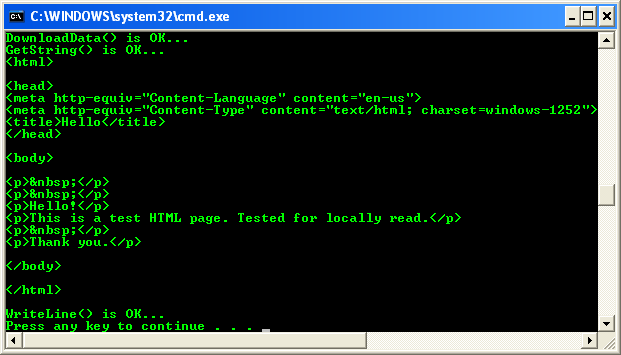 VB .NET Request and Response Web Client Program Example - a sample output, reading a local file