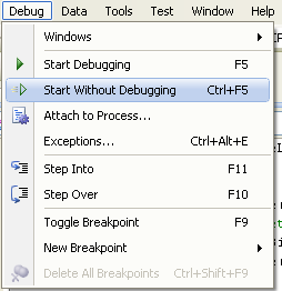 C# Program Example - running a project without debugging menu