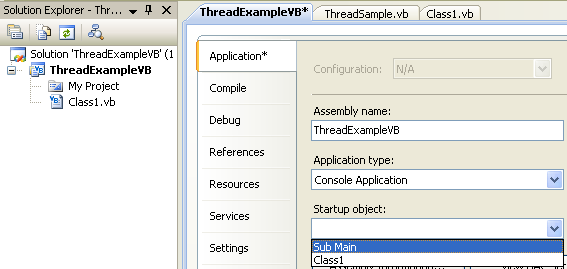 VB .NET Program Example - setting up the Startup object to Main subroutine