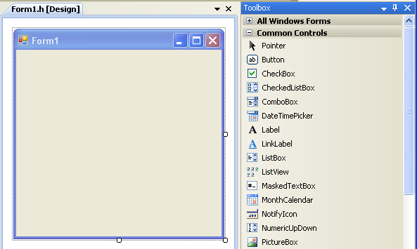 C++ WinForm Program Example - WinForm Toolbox components and the design canvas