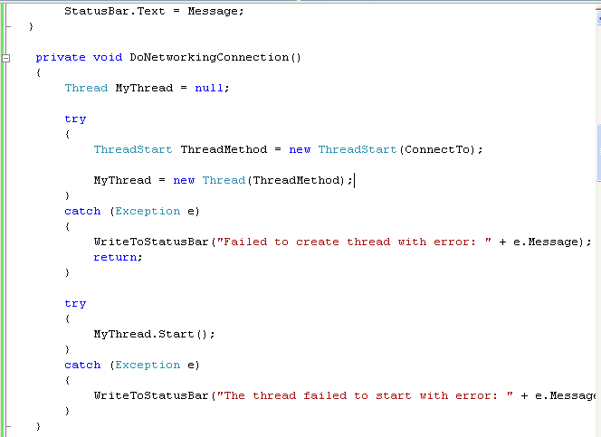 C# WinForm Program Example - adding DoNetworkingConnection() method