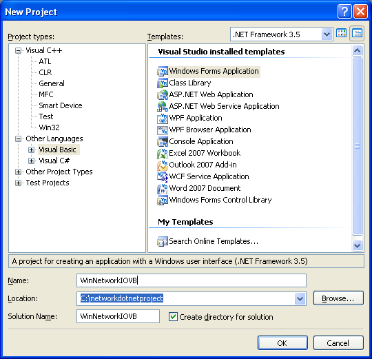 VB .NET WinForm Program Example - new Windows Forms Application project creation