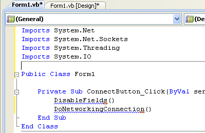VB .NET WinForm Program Example - adding the click button event subroutine
