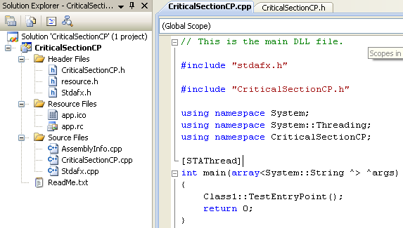 C++ Critical Section Program Example - adding the main() code