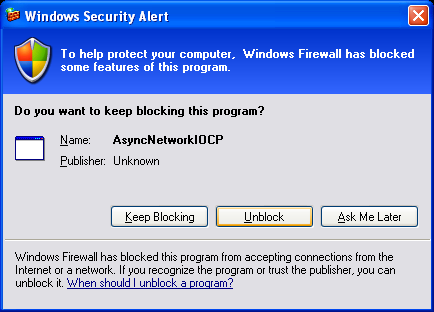C++ Asynchronous I/O Program Example - unblocking the Windows personal firewall protection