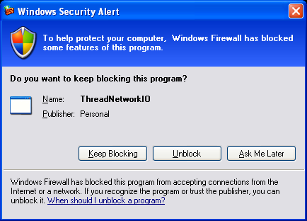 VB .NET Thread and Network I/O Program Example - unblocking the Windows personal firewall