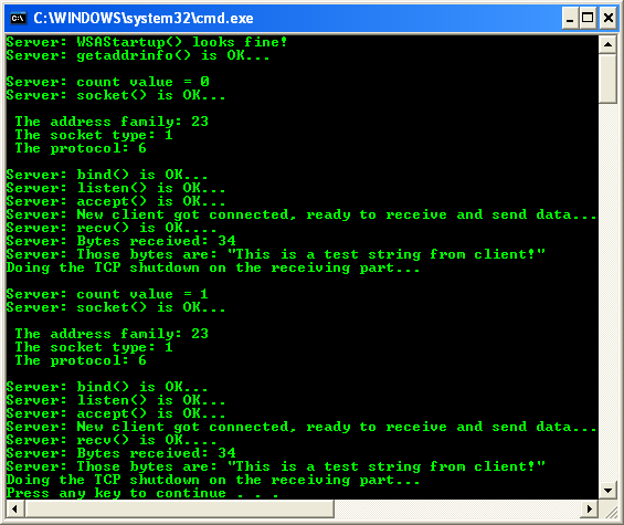 The server C program examples on IP version–independent (IPv4 and IPv6)