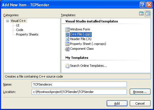 The TCP sender and client program example for winsock 2