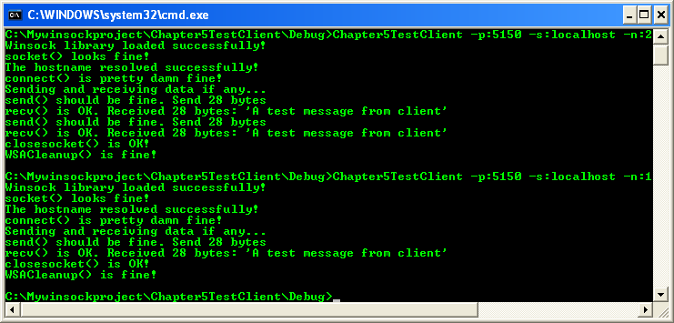 Running the client-server program for WSAAsyncSelect and