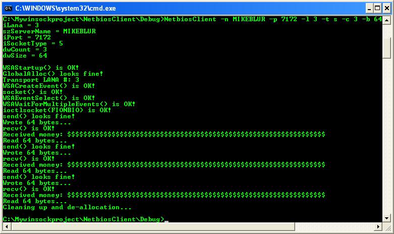 The Windows Netbios client program example in C language