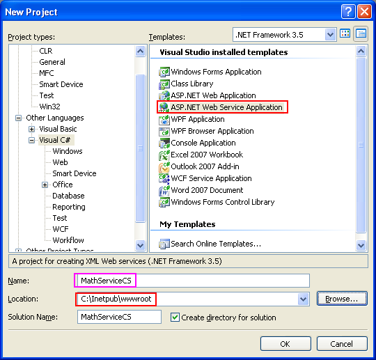Creating and consuming the ASP .NET web service and C# console application program example: Selecting the ASP .NET web service application tempalte from Visual Studio