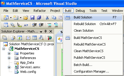 Creating and consuming the ASP .NET web service and C# console application program example: building the solution