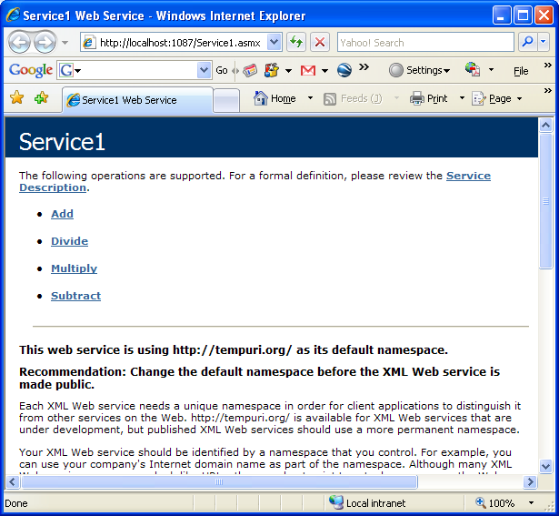Creating and consuming the ASP .NET web service and C# console application program example: The ASP .NET Service1.asmx web service seen through web browser with the exposed methods
