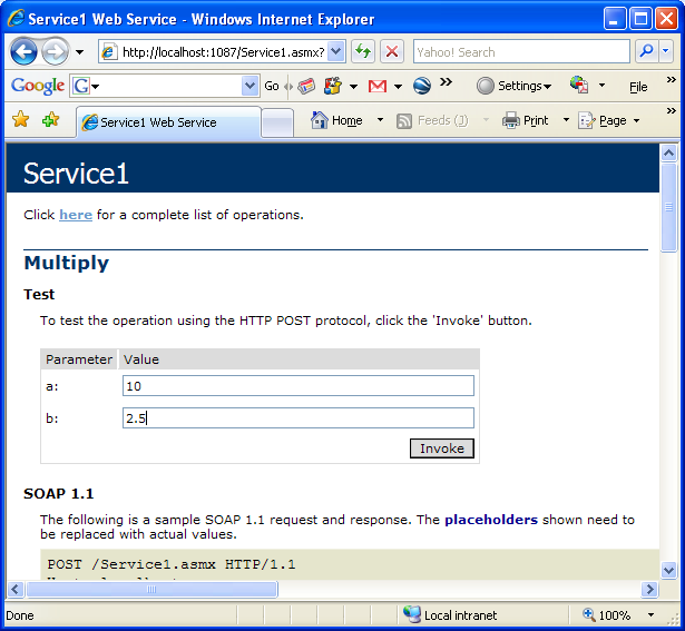 Creating and consuming the ASP .NET web service and C# console application program example: testing the web service multiply operation