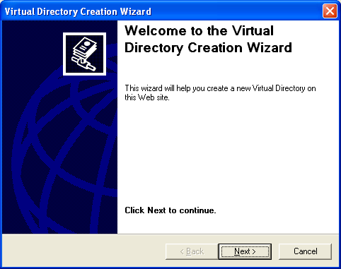 The C# Asynchronous Web Service Access with ASP .NET WEB Service application development Program Example: the IIS virtual directory creation wizard welcome page