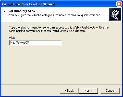 Creating and consuming the ASP .NET web service and C# console application program example: assigning the alias name to the virtual directory for IIS web server