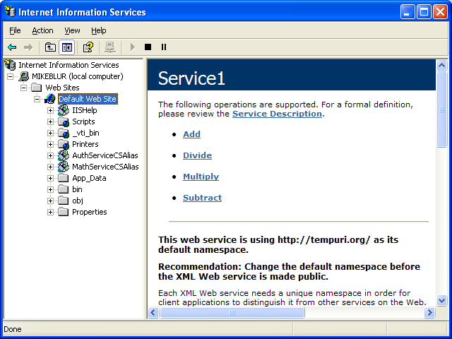 Creating and consuming the ASP .NET web service and C# console application program example: the web site successfully setup and configured on the IIS