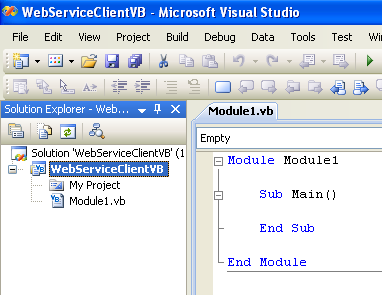 ASP .NET web service and VB .NET programming: VStudio project template