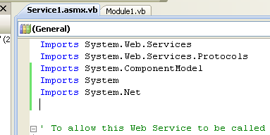 ASP .NET web service and VB .NET programming: Adding the Imports directives
