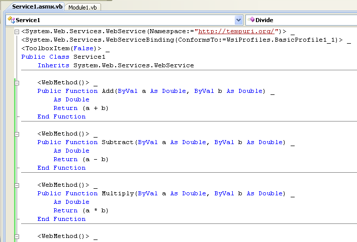 The ASP  NET and VB  NET web service programming tutorials with