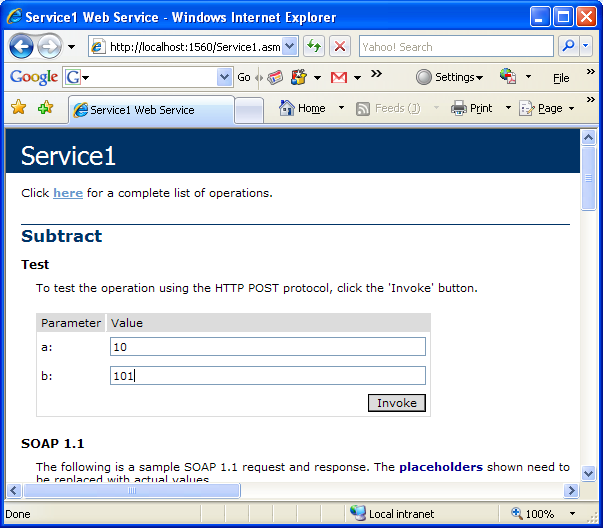ASP .NET web service and VB .NET programming: testing the web service methods
