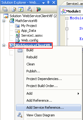 ASP .NET web service and VB .NET programming: adding the web service reference to the console application