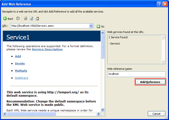 ASP .NET web service and VB .NET programming: Adding the selected web service to the existing project
