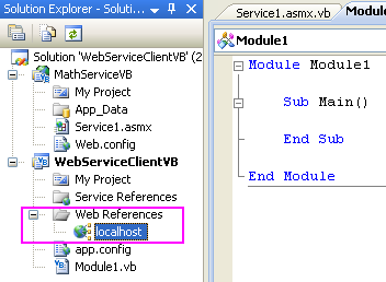 ASP .NET web service and VB .NET programming: The web service reference seen in the Visual Studio Solution Explorer