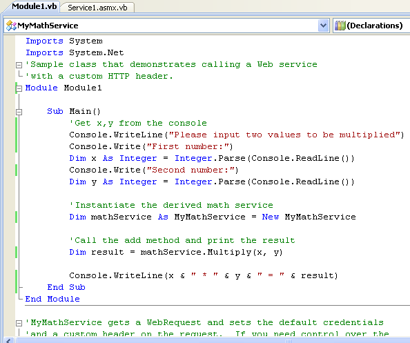 ASP .NET web service and VB .NET programming: adding the VB .NET code for the webrequest to the web service