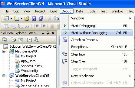 ASP .NET web service and VB .NET programming: Running the VB .NET application which request the ASP .NET web service