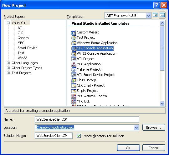 Consuming the ASP .NET/C# web service application using C++/CLI program example: creating new C++/CLI console application in Visual Studio