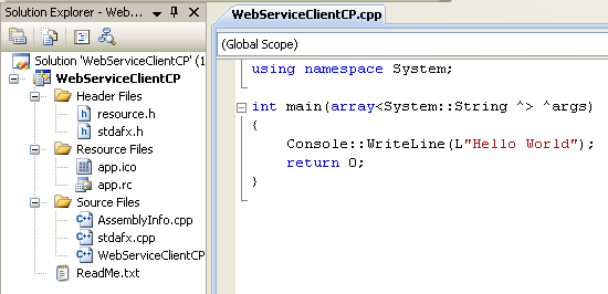 Consuming the ASP .NET/C# web service application using C++/CLI program example: the standard C++/Cli console application project tempalte