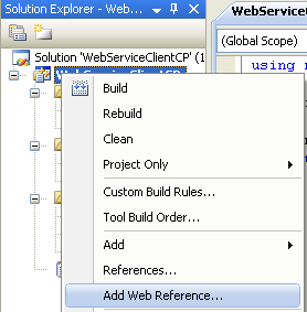 Consuming the ASP .NET/C# web service application using C++/CLI program example: adding the web service reference created using ASP .NET/C# code to the existing C++/CLI project
