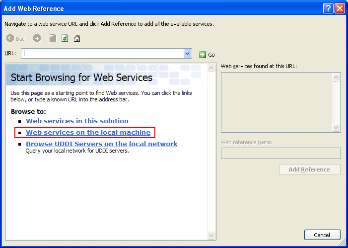 Consuming the ASP .NET/C# web service application using C++/CLI program example: finding and selecting the web services hosted on local web server