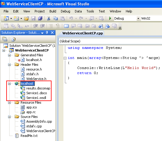 Consuming the ASP .NET/C# web service application using C++/CLI program example: the ASP .NET/C# web service reference seen in the Visual Studio Solution Explorer